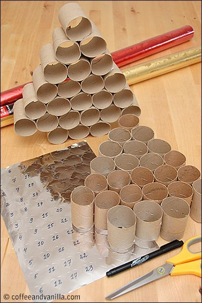 Photo of DIY Christmas Calendar Made from Upcycled Kitchen Roll Tubes » Coffee & Vanilla