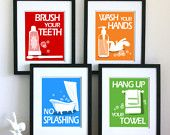 Kids Bathroom Art Prints, Wash Your Hands, Brush Your Teeth, children's bathroom wall art -  Pick 3 - Bathroom rules art for the bathroom. $38.00, via Etsy.