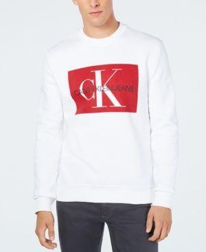 0b2801f84225a Calvin Klein Jeans Men s Logo Sweatshirt - White XL