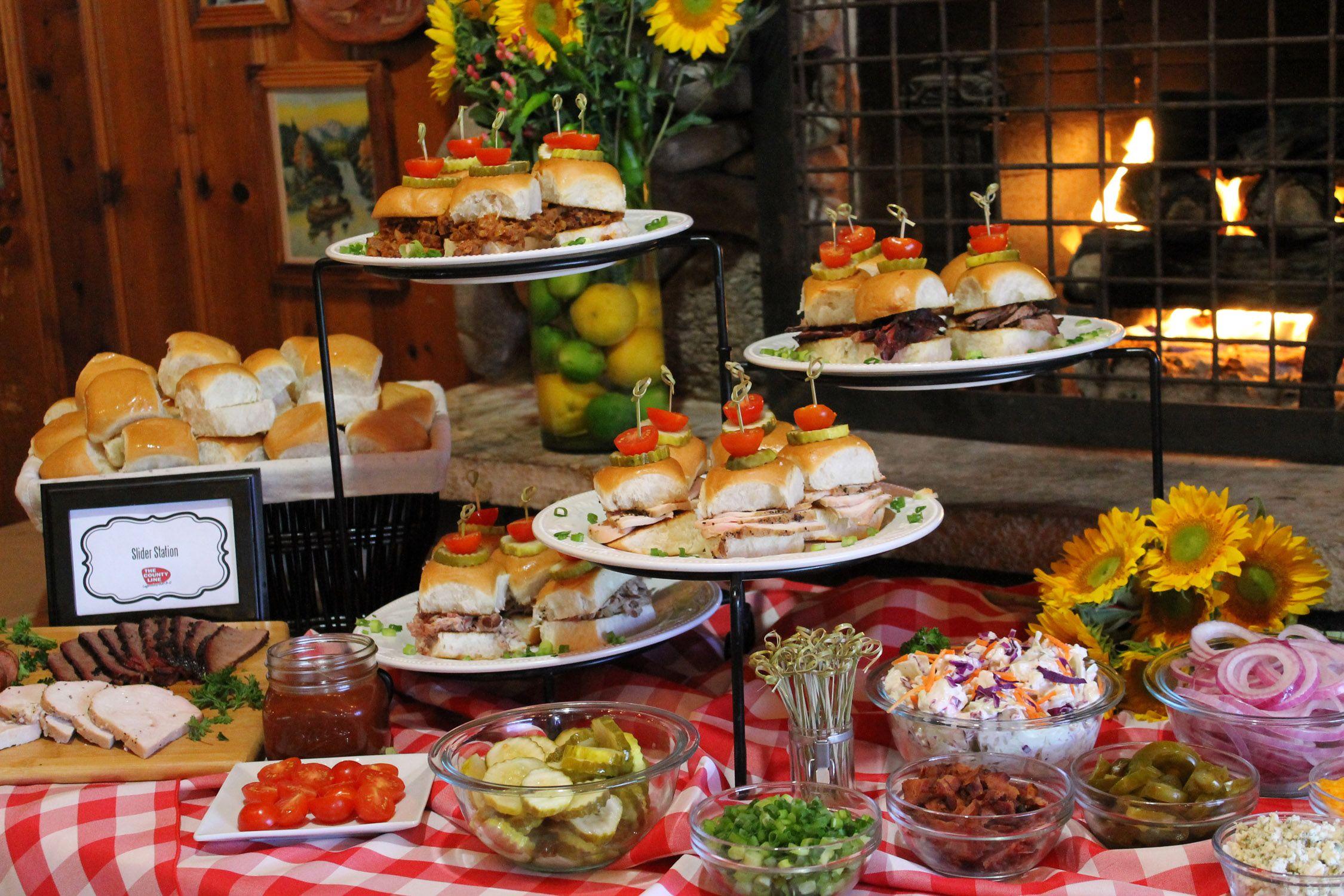 Bbq Party Buffet Ideas Pulled Pork Turkey And Moist Brisket Slider Bar Event