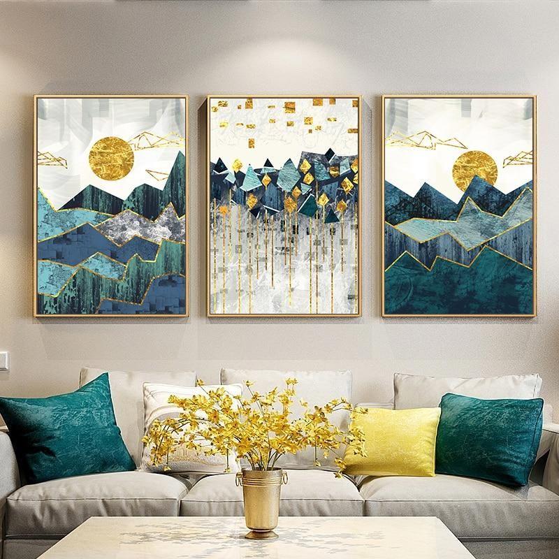 Geometric Sun Landscape Wall Art Canvas Painting Geometric Wall