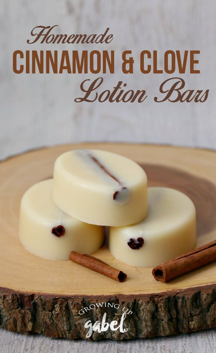 Easy homemade lotion bar recipes made with coconut oil, beeswax, and shea butter plus clove and cinnamon bark essential oils.