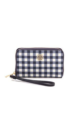 aca36dd7d880 Women s Wristlet Handbags - Tory Burch Robinson Printed Smartphone Wristlet  Navy Gingham    You can