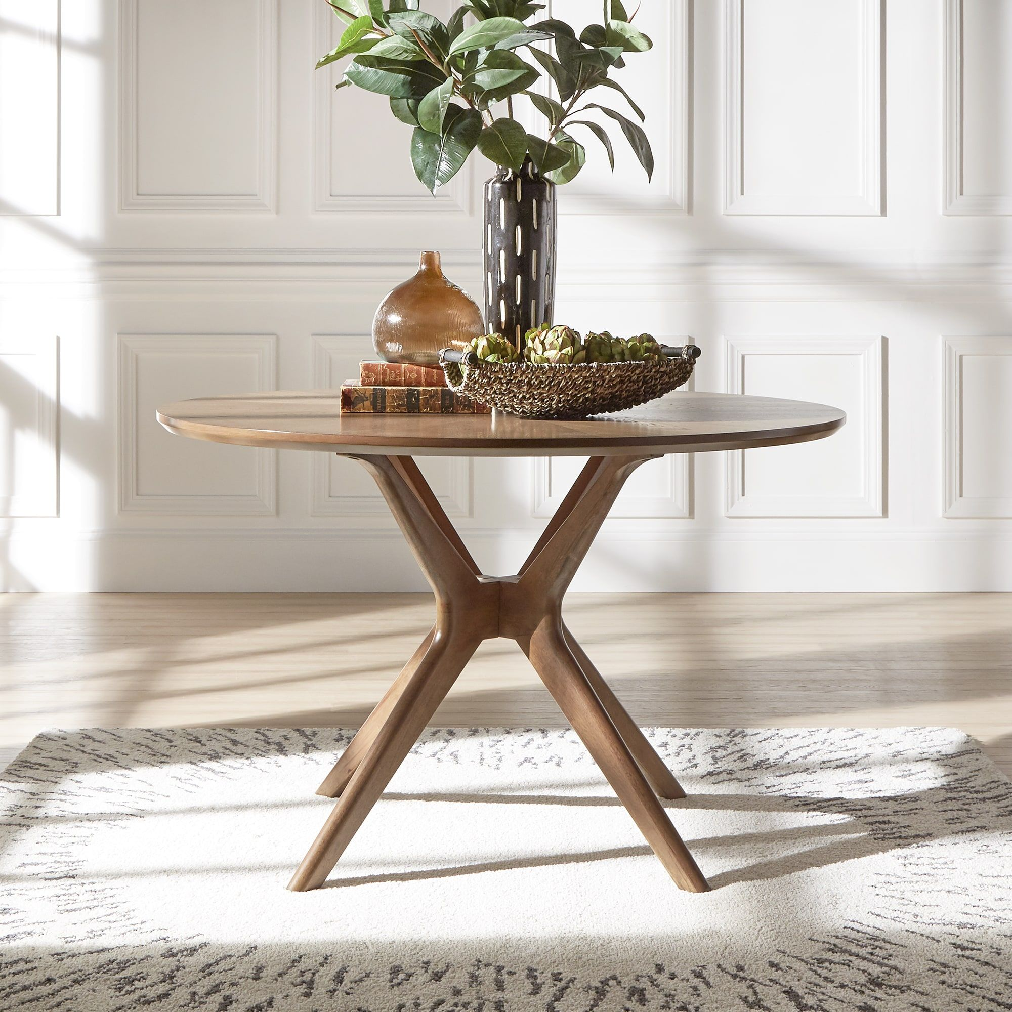 Nadine Mid-Century Walnut (Brown) Finish Round Dining Table by iNSPIRE Q  Modern (Glass Top Table)
