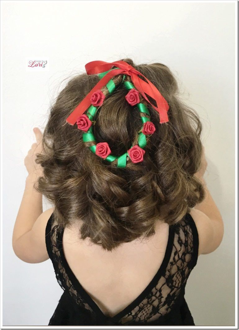 20 easy christmas hairstyles for little girls | ribbon