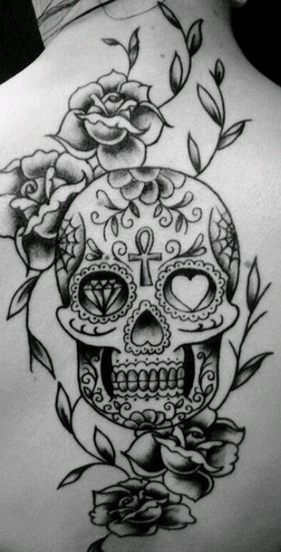 sugar skull roses vines tattoo sketch