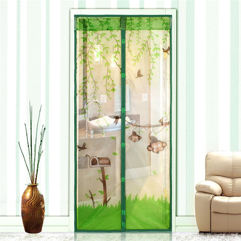 4 Colors Door Curtains Cute Monkey Anti Mosquito Magnetic Tulle
