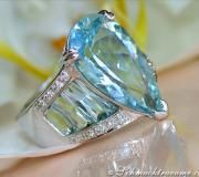 Huge Aquamarine Drop Ring with Diamonds image