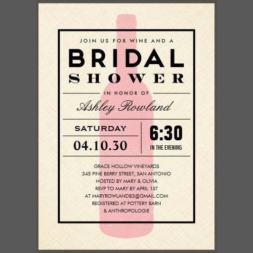 Wine themed bridal shower invitations with a modern pink wine bottle design.  Change the custom wording for your party needs.