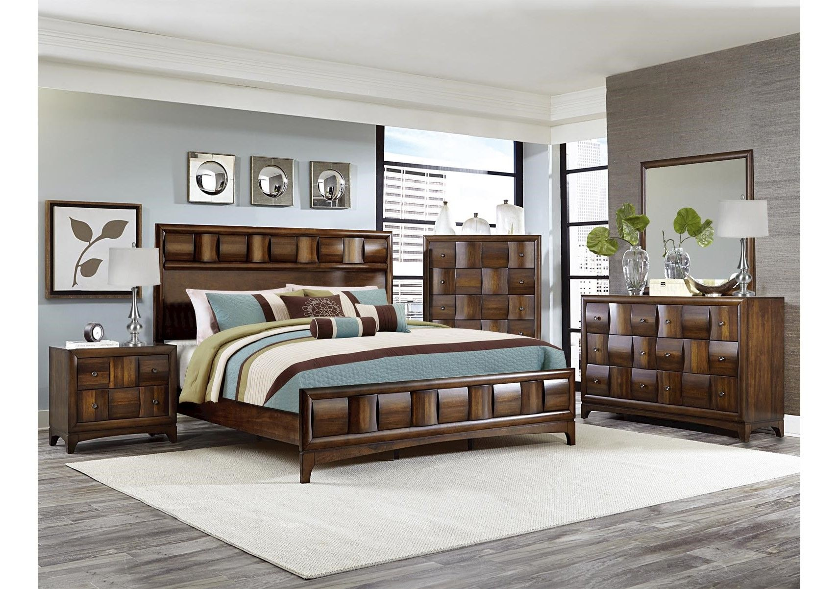 Lacks porter 4 pc queen bedroom set transitional style - Porter contemporary 6 piece bedroom set ...