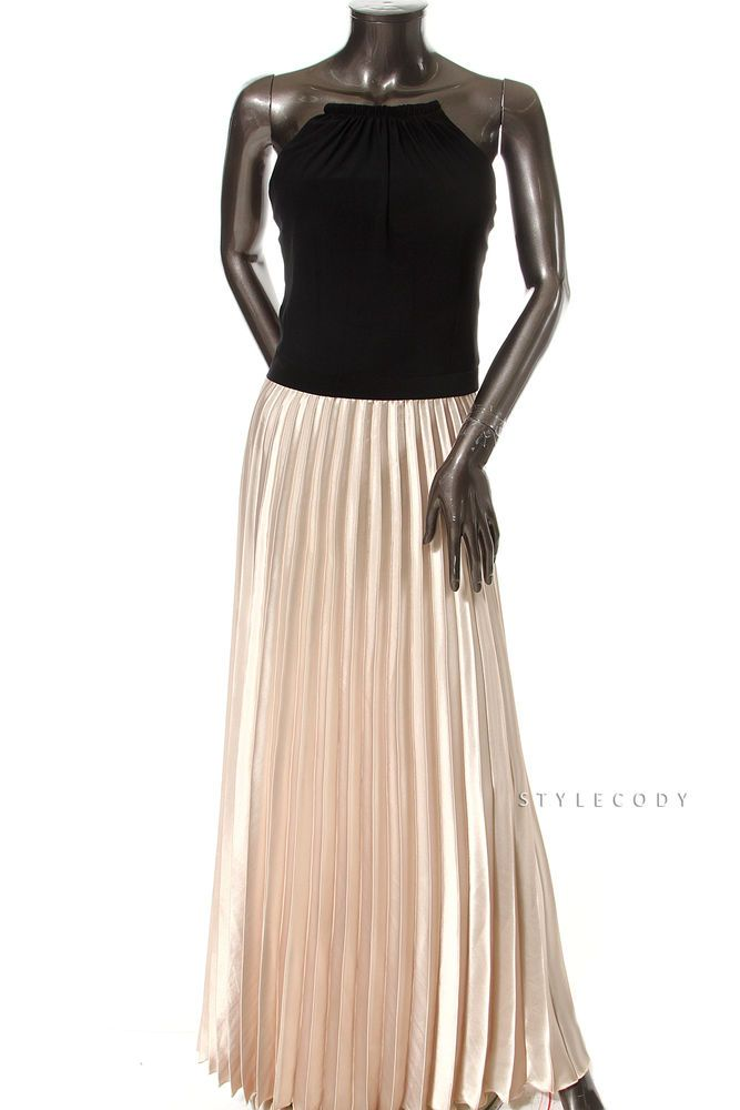 XSCAPE $119 Black Gold 2949 Pleated Halter Gown Evening Dress ...