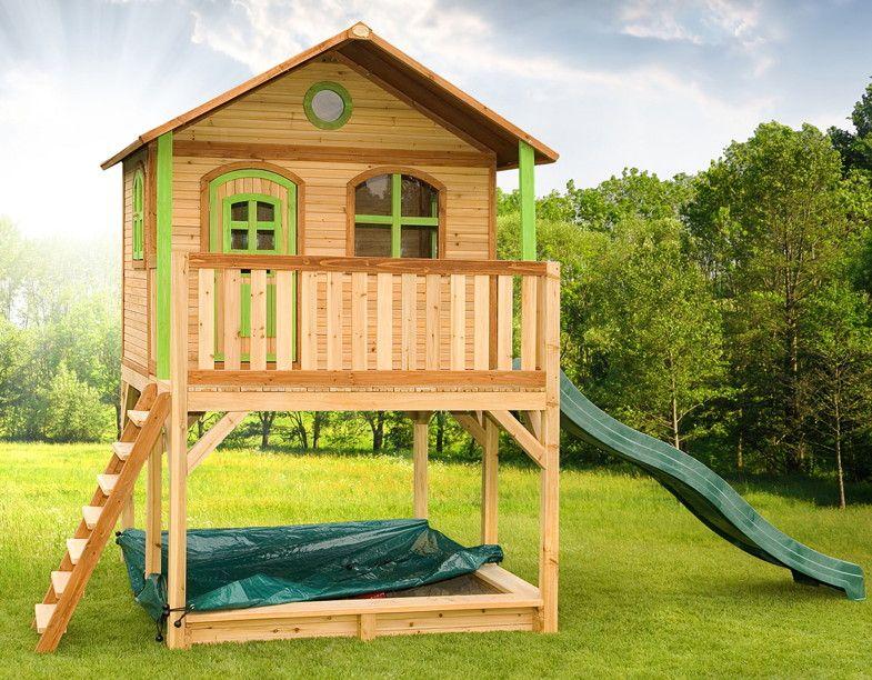 Holz-Kinderspielhaus auf Stelzen Sandkasten Garten 173x113cm Haus - gartengestaltung mit holz