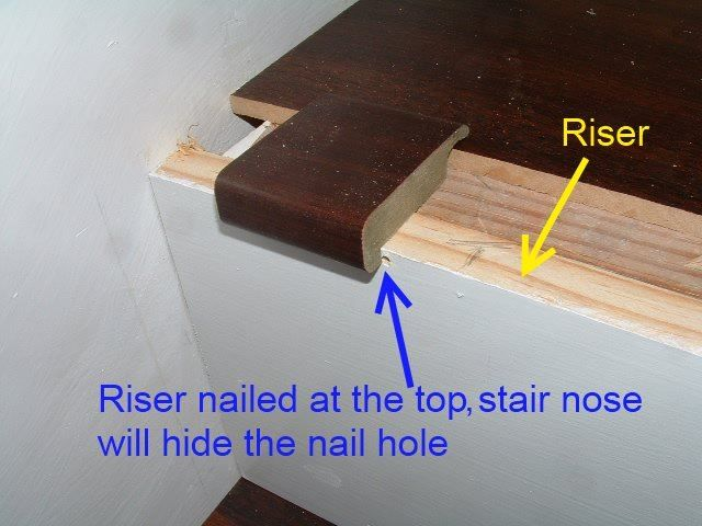 Here you can see the nail hole at the top of the riser while     Installing stair risers when installing laminate flooring on your stairs is  one of the steps in the process
