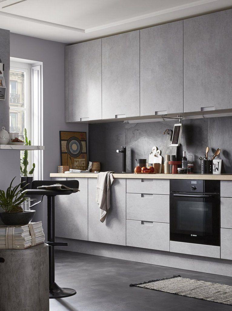 Cuisine gain de place : nos idées pour un petit espace | Kitchens | Meuble cuisine, Cuisine gris ...