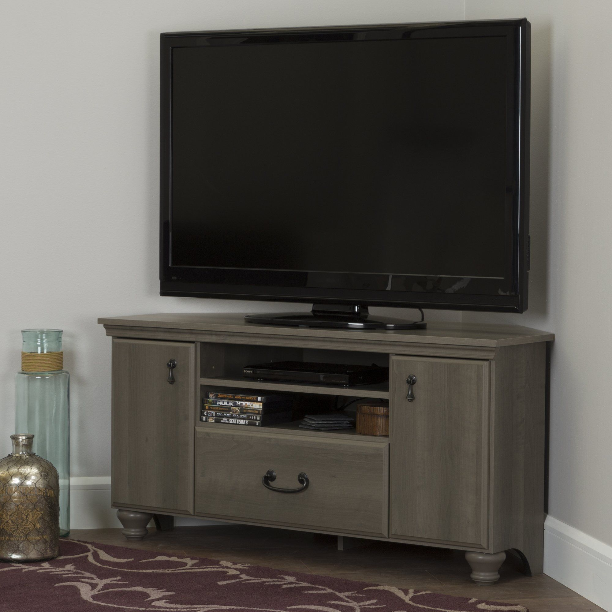 Gray Maple Corner Tv Stand For Tvs Up To 55 Inch Noble Corner