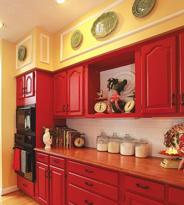 Love the red cabinets!  Oak counters.jpg