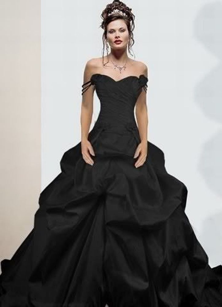 2017 New Black Taffeta Y Wedding Dress Ball Gown Size 6 8 10 12 14 16 18