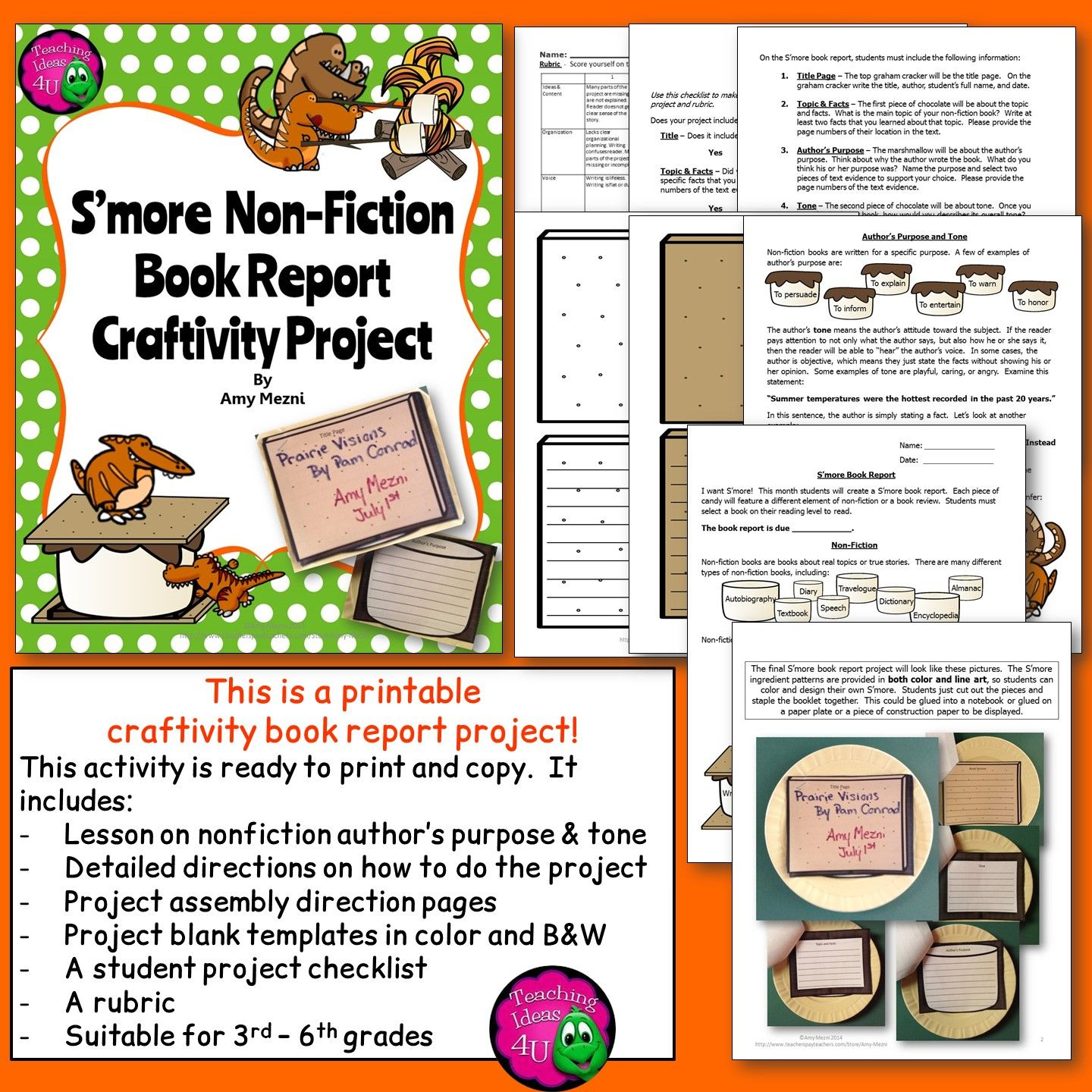 Nonfiction S More Book Report Craftivity Project Author S Purpose Amp Tone