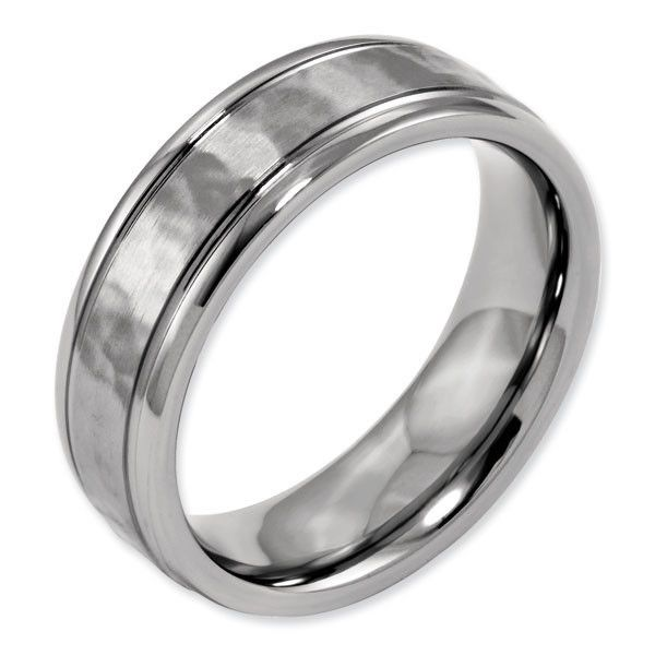 Anium Grooved Edge Hammered And Polished Men S Wedding Ring Chisel Collection Note Hammering On Rings May Vary