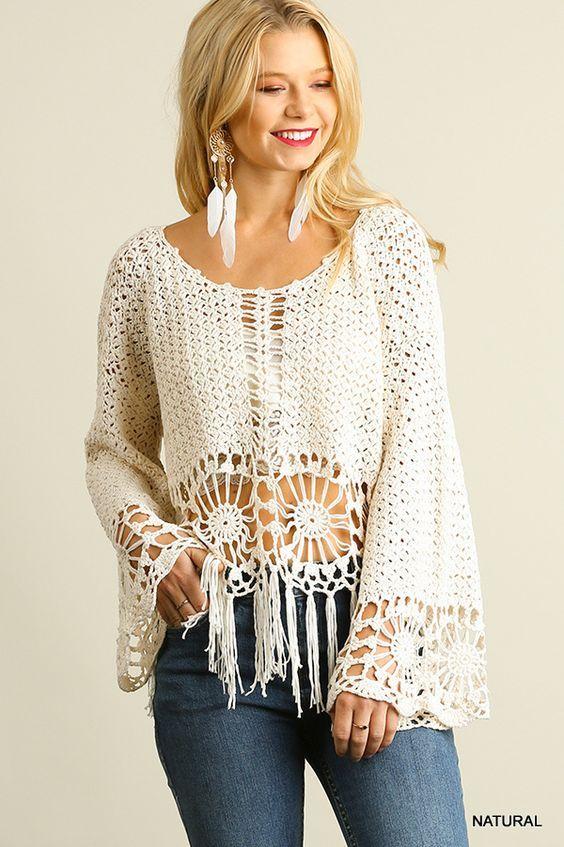 crochelinhasagulhas: Blusa branca em crochê com franjas | tejidos ...