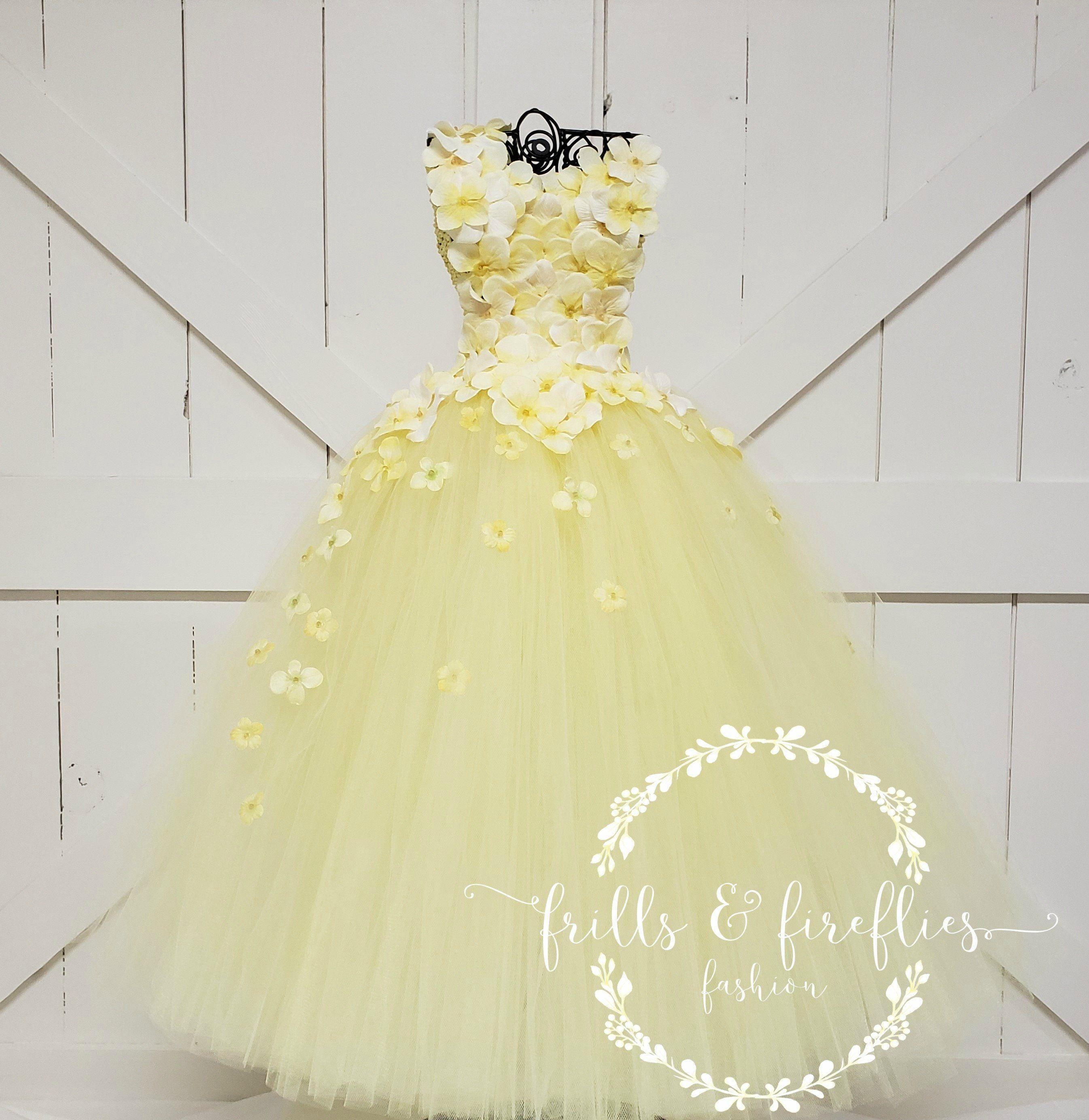 e5f104814a2 Yellow One Shoulder Flower Girl Dress Flower Girl Dress Bridesmaid Dress Prom  Dress