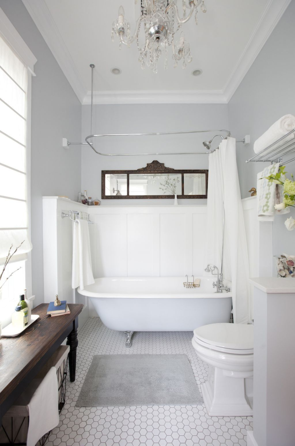 Chic Bathroom With Clawfoot Tub And Neutral Walls Also Wainscoting Amusing Bathroom With Clawfoot Tub Ideas Decorating Design