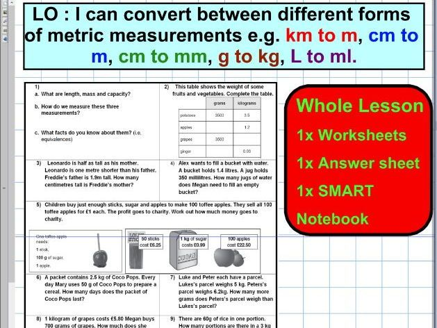 Convert different forms of metric units - Mass Capacity Length ...