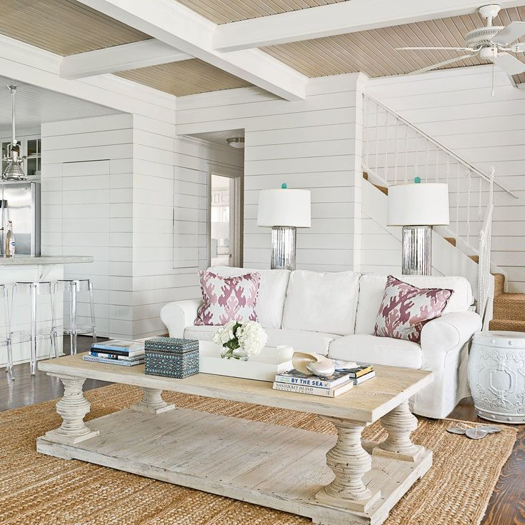 Shiplap Rooms We Love Beachy White Living Room  Shiplap Wall Ideas For Beach House Rooms Coastal
