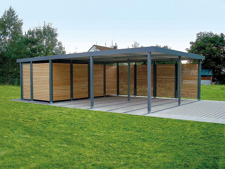 Garage mit carport flachdach  Doppelcarports - CARCEFFO - Moderne Carports & Garagen | Carport ...