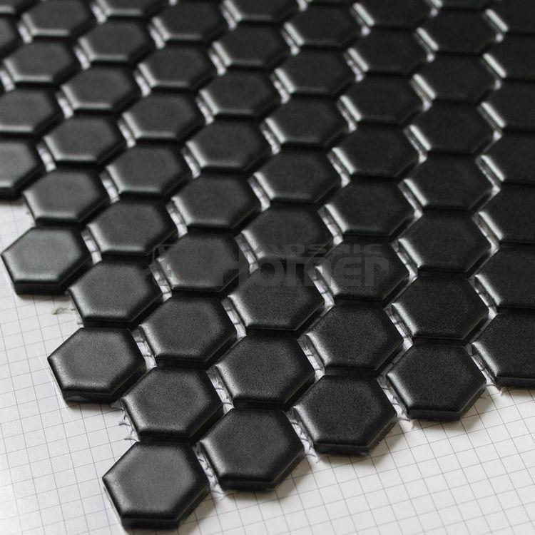 Livraison gratuite!! 23x23mm hexagone noir mosaïque de céramique