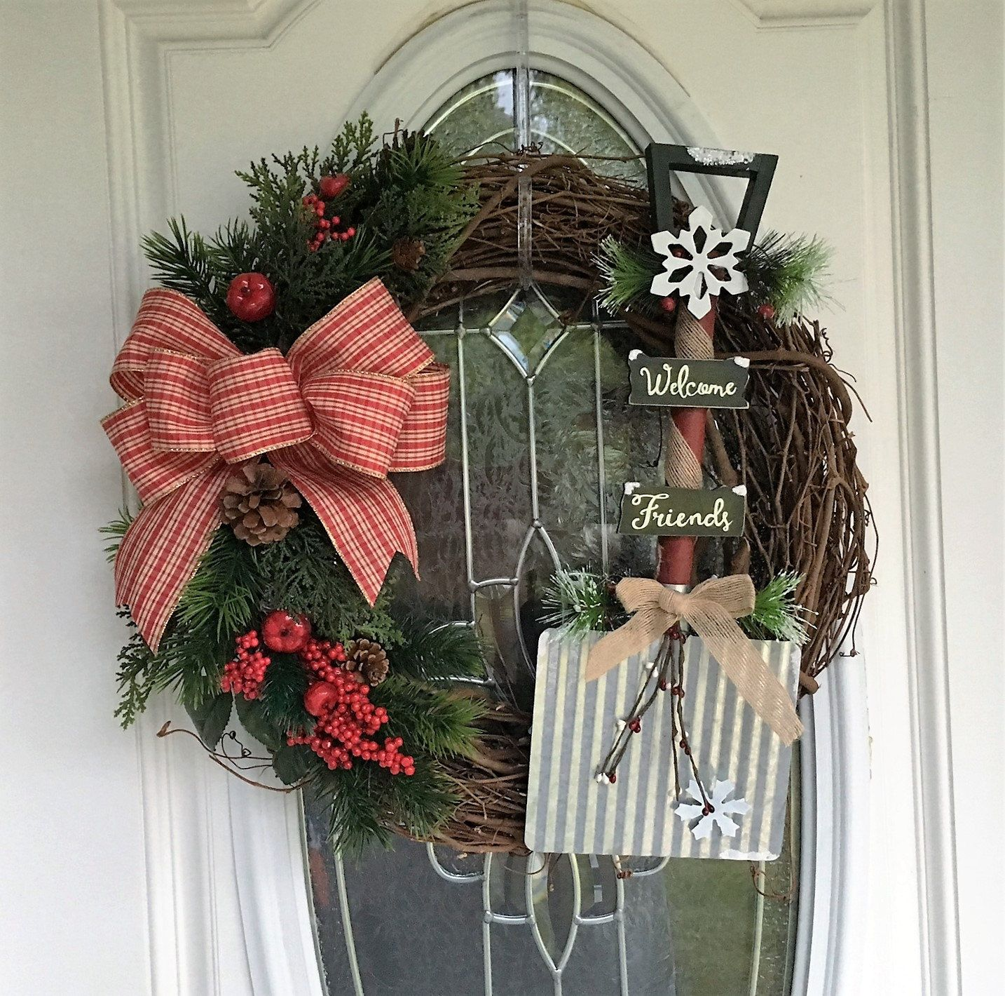 Grapevine Christmas Wreath, Christmas Wreath For Front Door, Rustic Wreath,