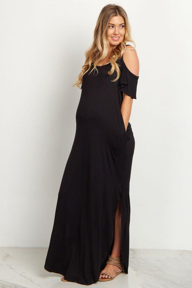 ac2adbcca27 Navy Cold Shoulder Maternity Maxi Dress
