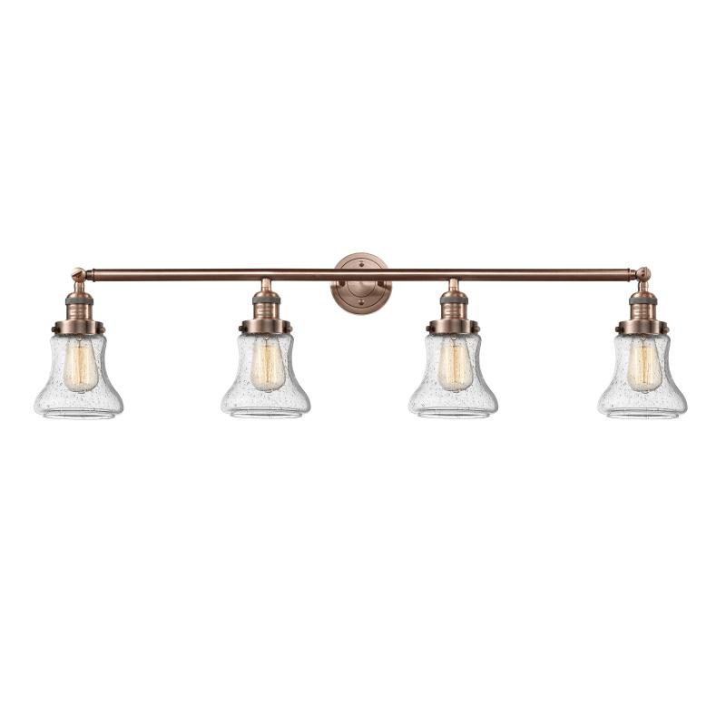 "Photo of Innovationen Beleuchtung 215-S Bellmont Bellmont 4 Light 42 ""Breites Badezimmer Vanity Li Antik Kupfer / Seedy Innenbeleuchtung Badezimmerarmaturen Vanity Light"