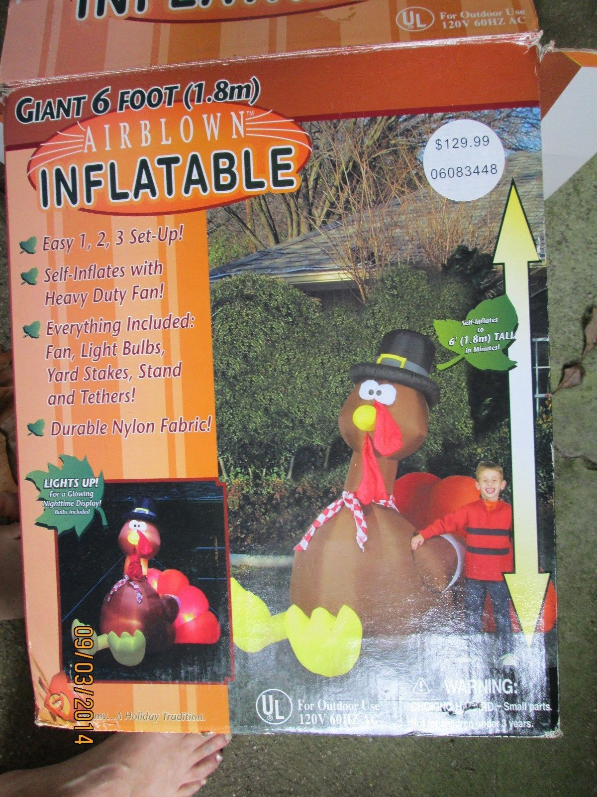 6 ft airblown inflatable thanksgiving turkey ebay for Airblown turkey decoration