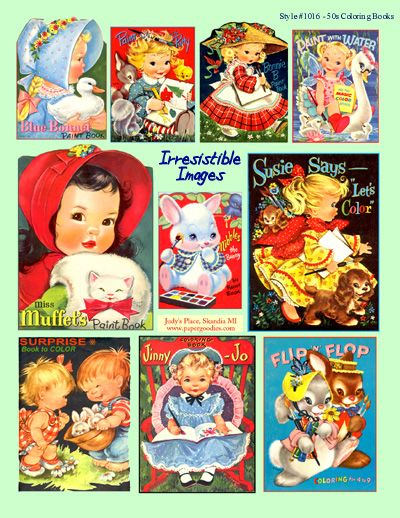 image detail for 1950s coloring book covers 0039 1016 fmn collage art - Vintage Coloring Books