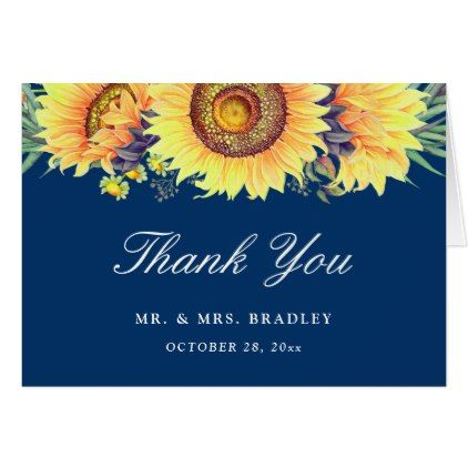 #wedding #thankyoucards - #Rustic Country Sunflowers Navy Blue Thank You Card