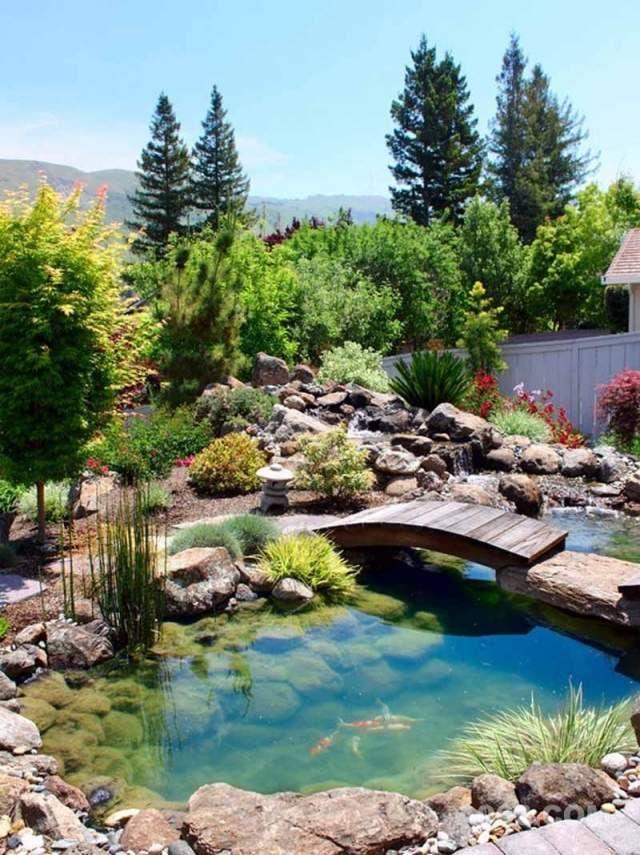 Garten mit steinen-gestalten teich-anlegen brücke-bauen