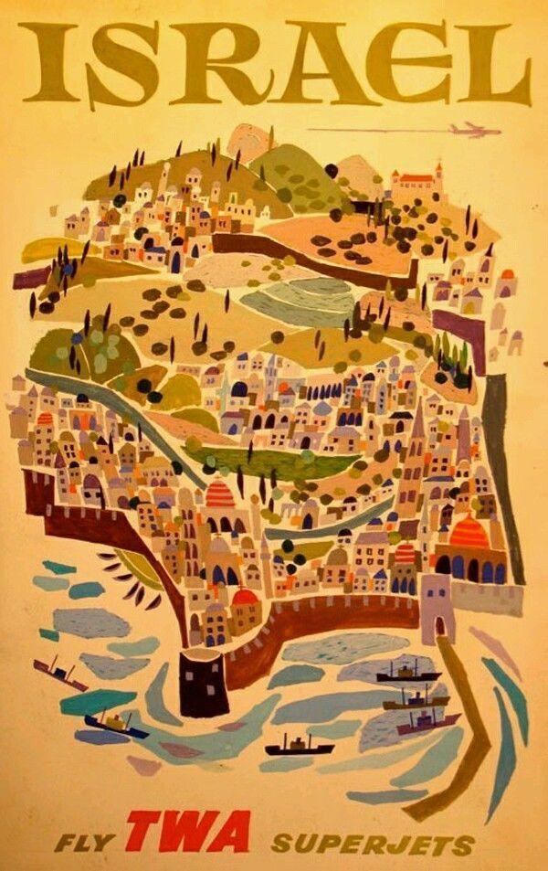 Israel Palestine Holiday In Vintage Travel Advertisement Art Poster