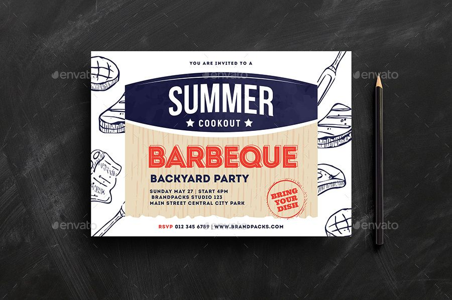 cookout bbq flyer poster ai barbecue barbecue party