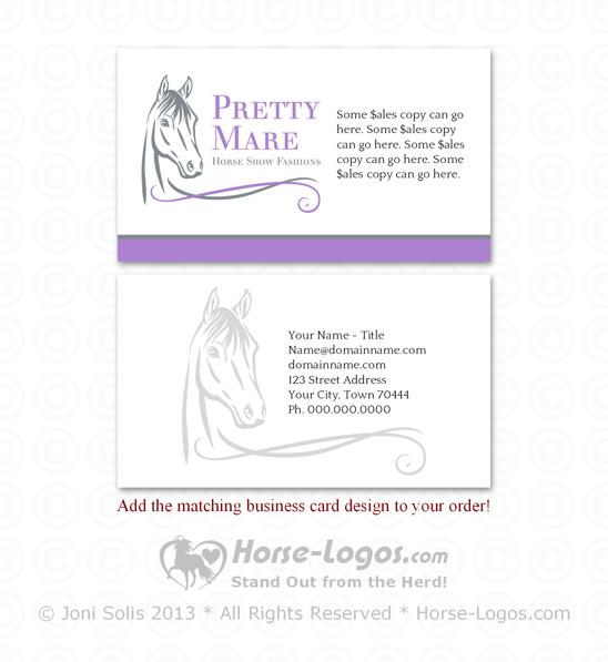 Horse Head Logo 30 Pretty Mare Customizable Business Cards Horse Logo Horse Head