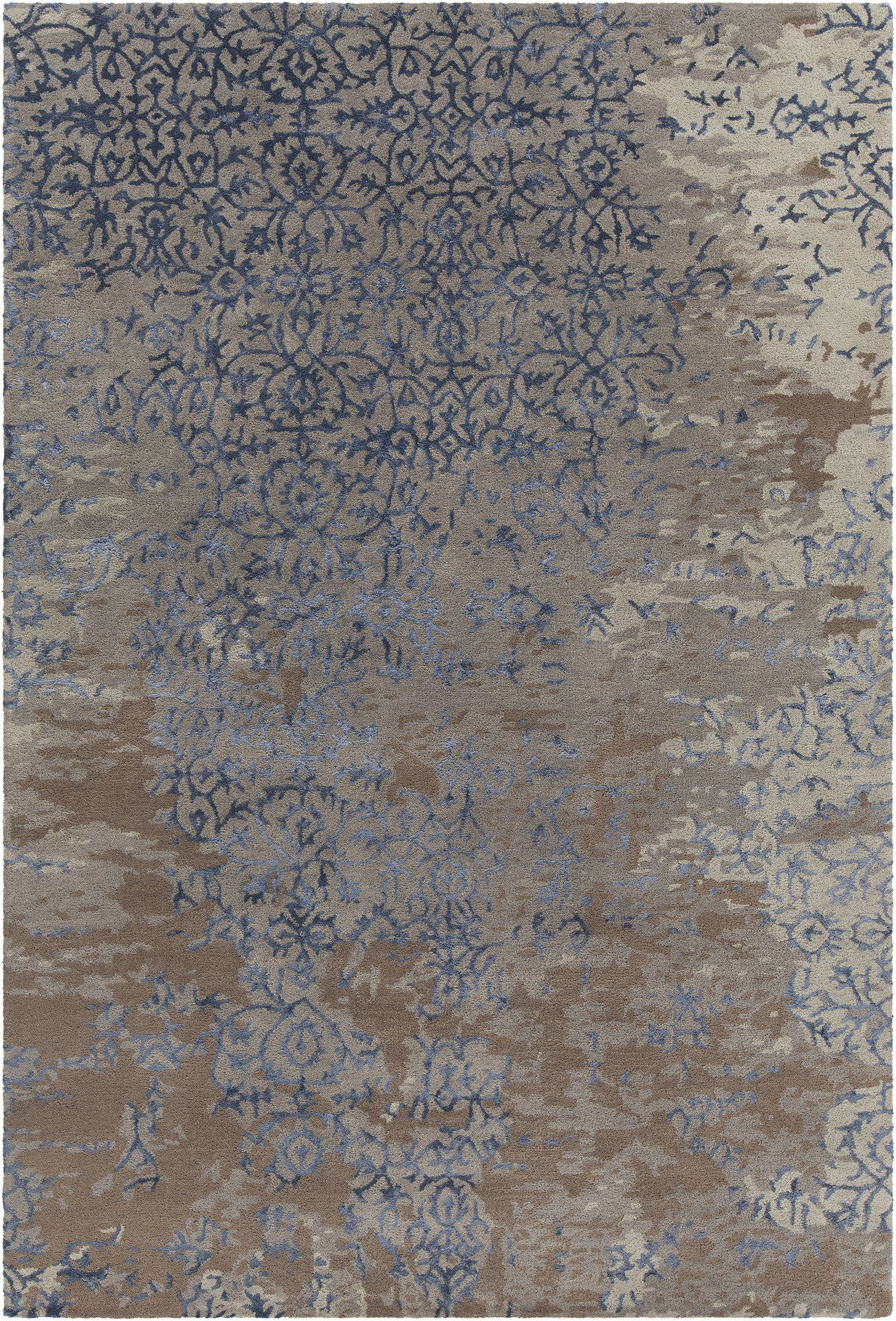 Rupec Collection Hand Tufted Area Rug In Grey Blue Brown Design