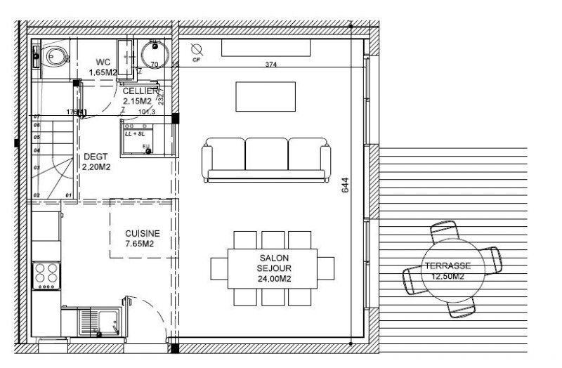 Andernos proche toutes commodités, jolie arcachonnaise rénovée avec - plan salon cuisine sejour salle manger