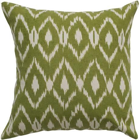 "I always adore a little ikat....Sage Green Diamond Print 18"" Square Throw Pillow"