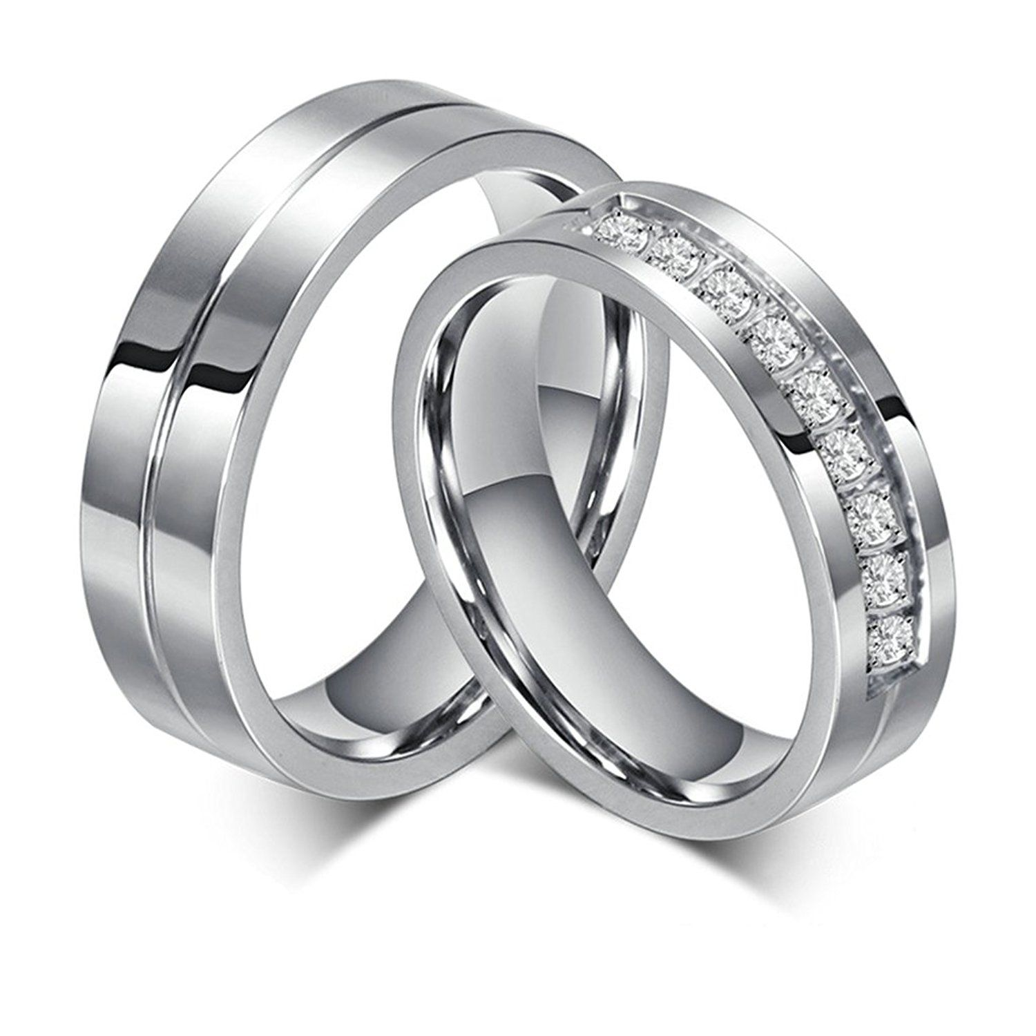 Bishilin Stainless Steel His and Hers Matchiing Set Couple Wedding Rings For Women