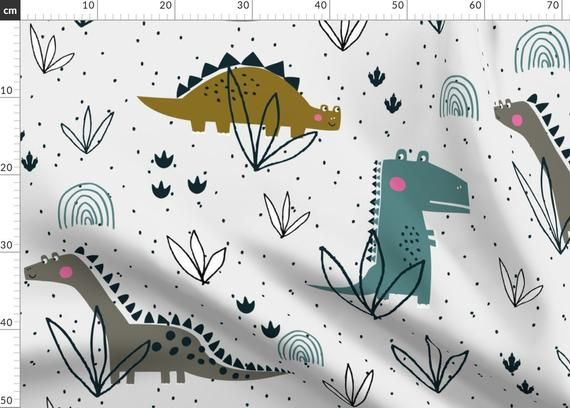 Dinosaur Nursery Fabric - Dinosaur T-Rex Jurassic Pattern (Large) By Paperandpickles - Children's Co #dinosaurnursery