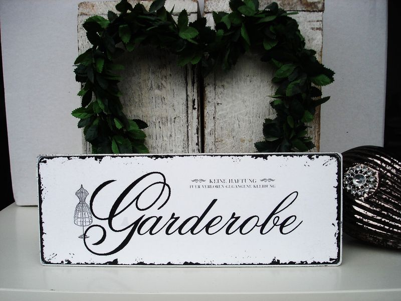 shabby vintage holz schild garderobe shabby vintage and poem. Black Bedroom Furniture Sets. Home Design Ideas