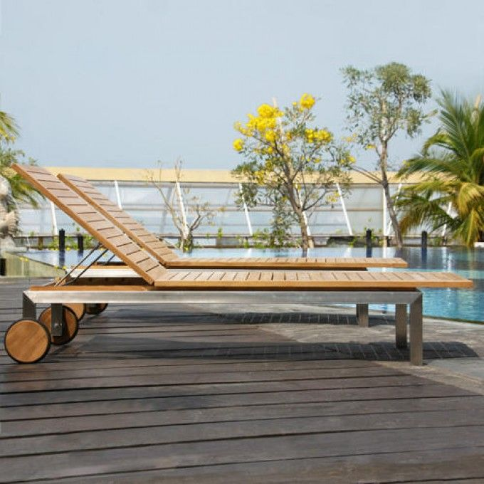 siro teak and stainless steel outdoor chaise lounge chair outdoor