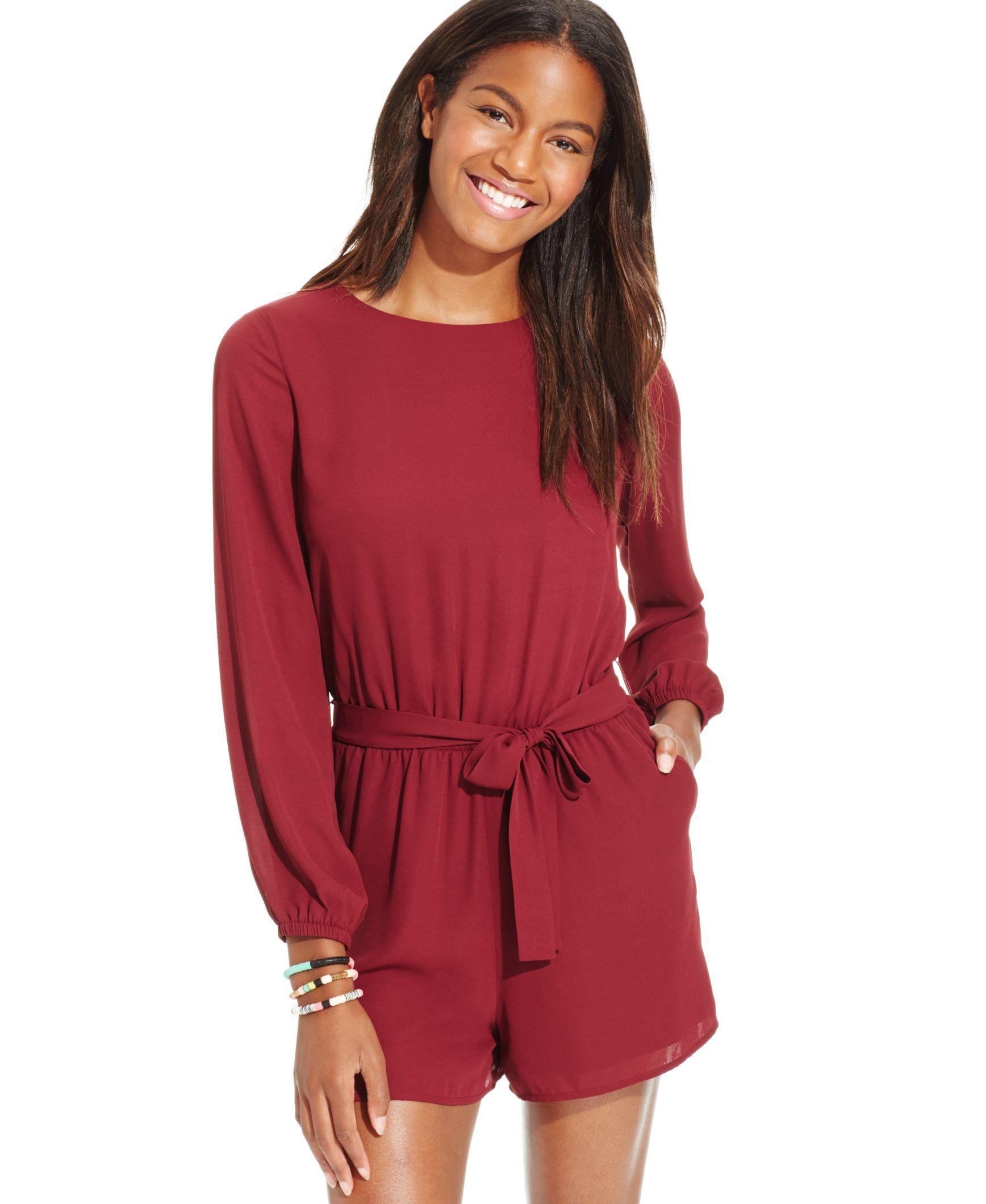 91bcb3816b44 One Clothing Juniorsu0026 39  Long-Sleeve Sash Romper - Juniors .