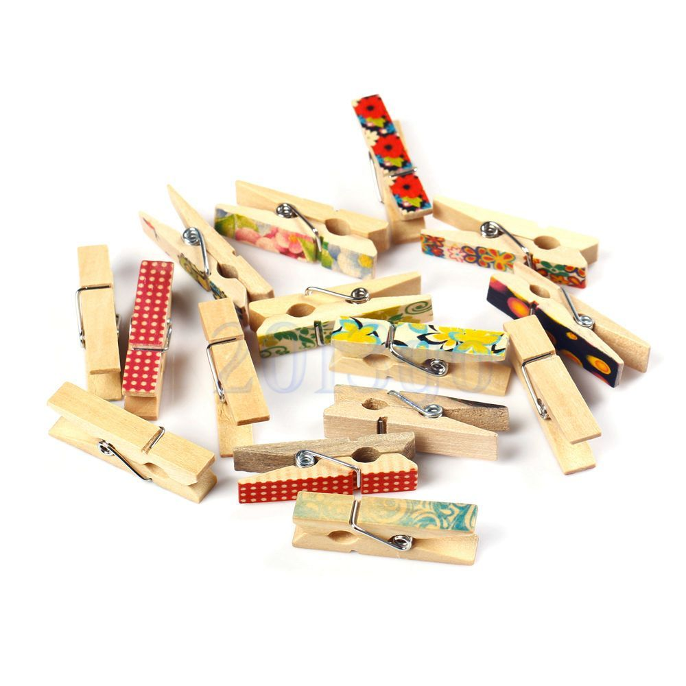 50 Painted Wooden Clothes Peg DIY Wall Art Picture Hanging Album ...