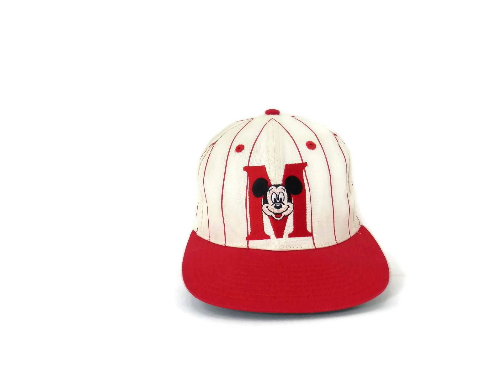 vintage mickey mouse baseball cap red striped with embroidered snap back hat by goofys hat company